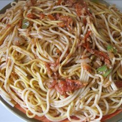 Pasta & Chinese Udong Noodles in Tomato Sauce & Sardines