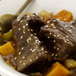 Sesame Root Beer Braised Short Ribs and Sweet Potatoes