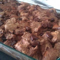 Chocolate Bread Pudding W/ Peanut Butter Sauce