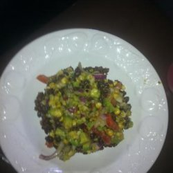 Black Bean, Corn & Avocado Salad over Red Quinoa With Cilant