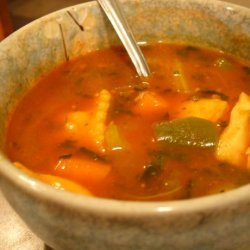 Ravioli Green & Red Soup