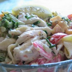 The Ultimate Creamy Chilled Seafood Pasta Salad