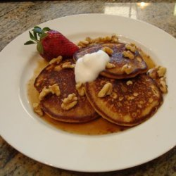 Banana Bread Pancakes With Cinnamon Maple Syrup