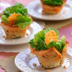 Garlic Crouton Cups With Pesto Caesar and Parmesan Crisps