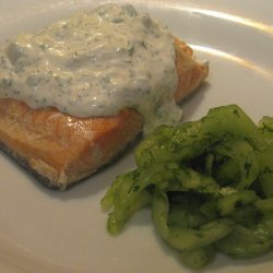 Poached Salmon with Cucumber Dill Sauce