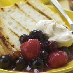 Grilled Angel Food Cake With Peppered Berries &Vanilla Cream