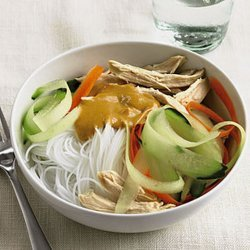 Peanut Butter Chicken Noodles With Carrot & Cucumber Ribbons