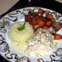Stuffed Chicken Breasts With a Creamy Wine Sauce