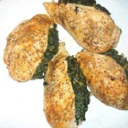 Spinach & Cheddar Stuffed Chicken Breast in Creamy Gravy