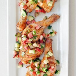 Chicken Thighs With Rhubarb-Cucumber Salsa