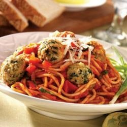 Baked Turkey Meatballs and Spaghetti