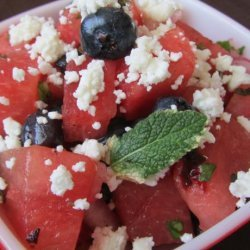 Watermelon Blueberry Salad Witha Hint of Heat recipe