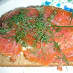Smoked Salmon and Eggs on Toast With Capers and Dill
