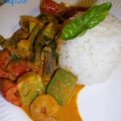 Fiery Avocado Red Curry and Shrimp