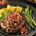 Rib Eye Steak With a Roasted Tomato, Peanut and Jalapeno Relish