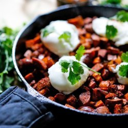 Sweet Potato Hash With Poached Eggs