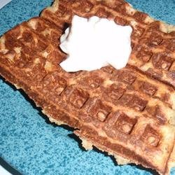 Bacon-Topped Savory Waffles with Onion Sauce