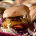 Brooklyn Chili Burgers with Smoky Barbecue Sauce with Oil and Vinegar Slaw (Rachael Ray) recipe