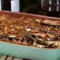 Eggplant Casserole with Red Pepper Pesto and Cajun Breadcrumbs (Bobby Flay)
