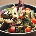 Farro Salad with Grilled Eggplant, Tomatoes and Onion (Bobby Flay)