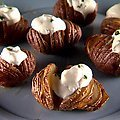 Garlic Hasselback Potatoes with Herbed Sour Cream (Sunny Anderson)