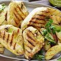 Grilled Chicken with Roasted Garlic-Oregano Vinaigrette and Grilled Fingerling Potatoes (Bobby Flay)