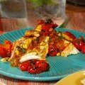 Grilled Halibut with Corn-Coconut Curry Sauce and Grilled Cherry Tomato Chutney (Bobby Flay)