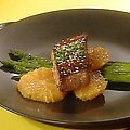 Grilled Mahi Mahi Fillets and Asparagus with Orange and Sesame (Rachael Ray)