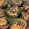 Grilled Portobellos Filled with Wild Rice-Almond Pilaf and Piquillo Pepper Vinaigrette (Bobby Flay)