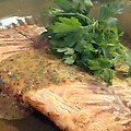 Grilled Salmon Fillet with Honey-Mustard Sauce (Bobby Flay)