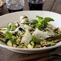 Grilled Zucchini Salad with Lemon-Herb Vinaigrette and Shaved Romano and Toasted Pine Nuts (Bobby Flay) recipe