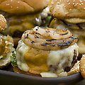 Hamburger with Double Cheddar Cheese, Grilled Vidalia Onion and Horseradish Mustard (Bobby Flay)
