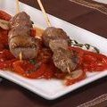 Lamb Skewers a la Plancha with Piperrada