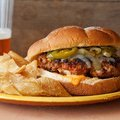 Latin Burgers with Caramelized Onion and Jalapeno Relish and Red Pepper Mayonnaise (Ingrid Hoffmann)