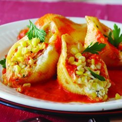 Three Cheese Stuffed Shells with Roasted Red Pepper Sauce