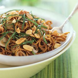 Spicy Sesame Noodles with Chopped Peanuts and Thai Basil