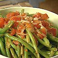 Sauteed Green Beans with Tomatoes and Basil served with Parmesan Crisps (Giada De Laurentiis)