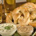 Soft Pretzels with Queso Poblano Sauce and Mustard Sauce (Bobby Flay)