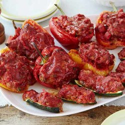 Stuffed Zucchini and Red Bell Peppers (Giada De Laurentiis)