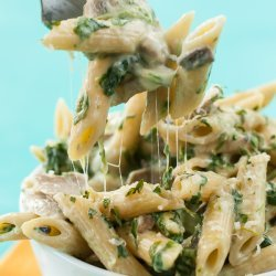 Pasta, Penne with Spinach Sauce