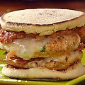 Turkey Bacon Double Cheese Burgers with Fire Roasted Tomato Sauce (Rachael Ray)
