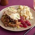 What a Face! Open Faced Hot Turkey Sammys with Sausage Stuffing and Gravy, Smashed Potatoes with Bacon, Warm Apple Cranberry Sauce (Rachael Ray)