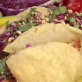 Yucatan Chicken Puffy Tacos with Peanut-Red Chili BBQ Sauce and Red Cabbage Slaw (Bobby Flay)
