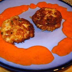Crab Cakes With Red Pepper Coulis recipe