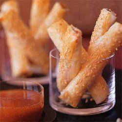 Shrimp And Sesame Sticks With Apricot Dipping Sauc...