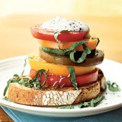 Stacked Heirloom Tomatoes With Ricotta Salata Crea...