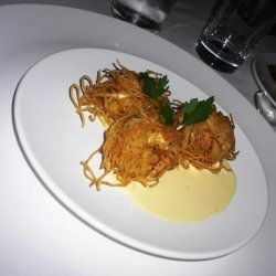 Angel Hair-covered Fried Scallops With Tangerine-s...
