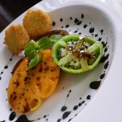 Heirloom Tomatoes With Panko Crusted Goat Cheese