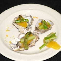 Oysters On The Half Shell With Asparagus Salad