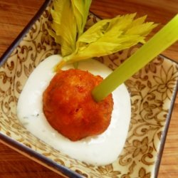 Buffalo Chicken Meatballs With Blue Cheese Dip recipe